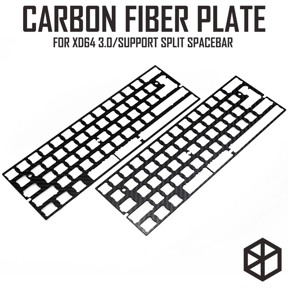 60% алюминиевая механическая клавиатура из углеродного волокна пластина поддержка xd60 xd64 3,0 v3.0 gh60 поддержка сплит-пробела 3u пробела