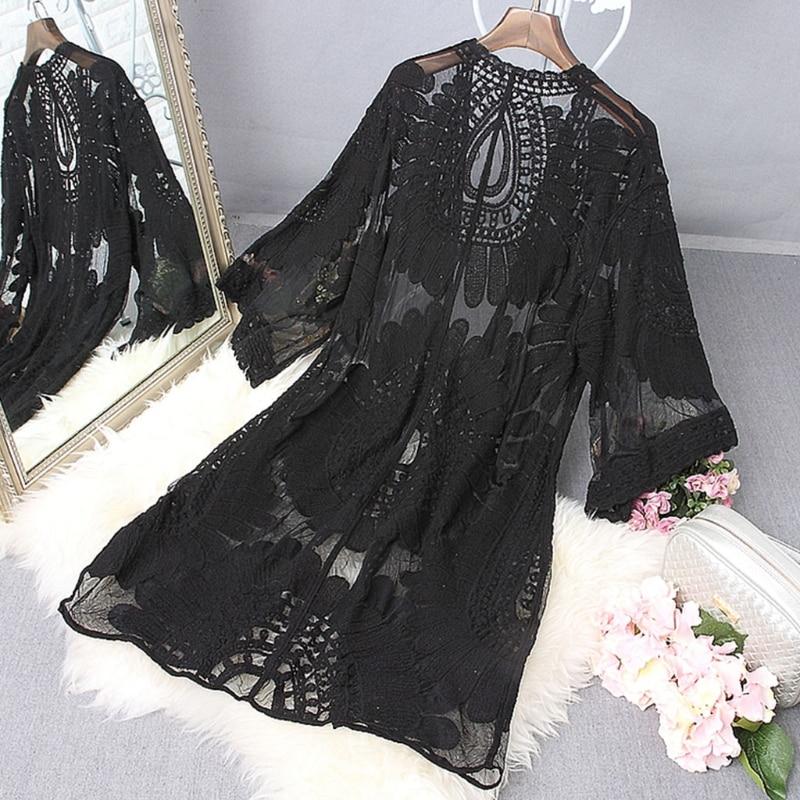 1Pc Women Beach Cover Up Floral Embroidery Swimwear Women Robe Cardigan BathingSuit