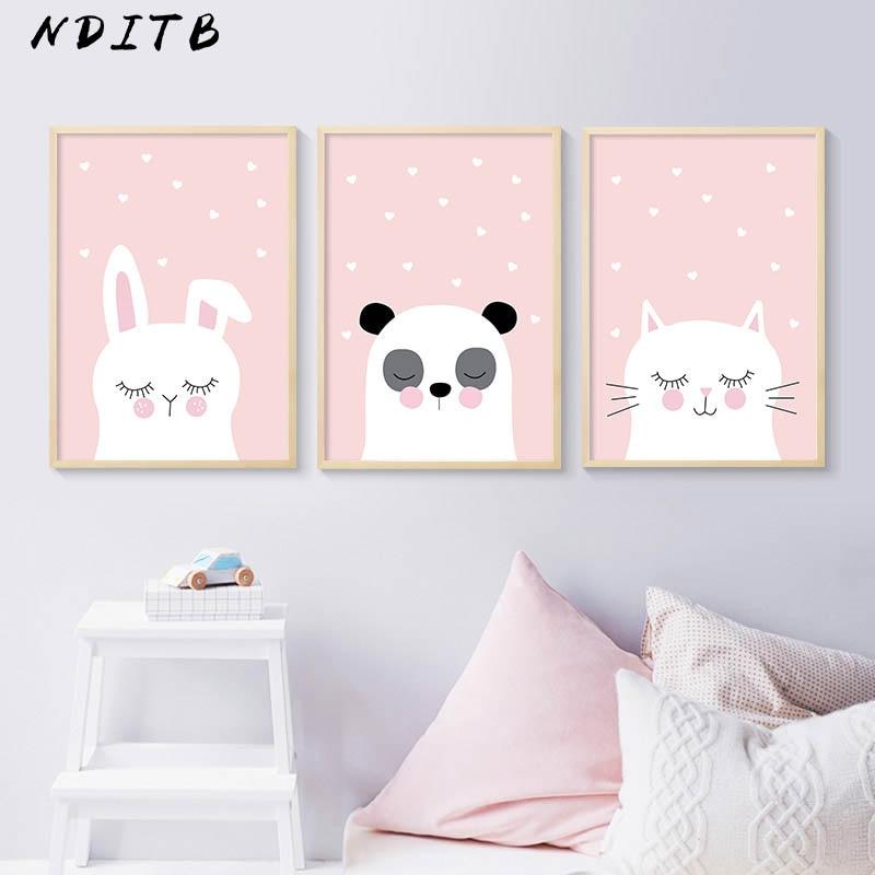 NDITB лес животное кролик панда Кошка Холст постер мультфильм питомник стены искусства печать картина скандинавские дети украшения фотограф...