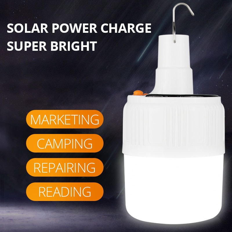 SHENYU Rechargeable LED Bulb Lamp Remote Control Solar Charge Portable Emergency Night Market Light