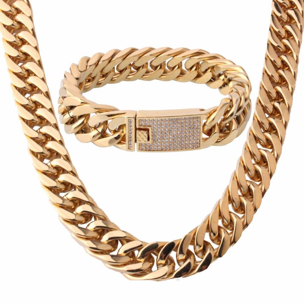 15mm gran color dorado cristal hebilla de acero inoxidable Miami Curb cadena de eslabones cubanos pulsera y collar conjunto de joyería para hombres