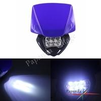 Blue Motocross LED Bright Dirt Bike Headlight Dual Sport Head Lamp Off Road for Yamaha WR TTR YZF Suzuki DR DRZ RM Honda