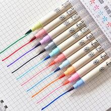 10 couleurs peinture pinceau ensemble dessin doux aquarelle marqueur peinture brosse pour écolier Manga brosse stylo papeterie