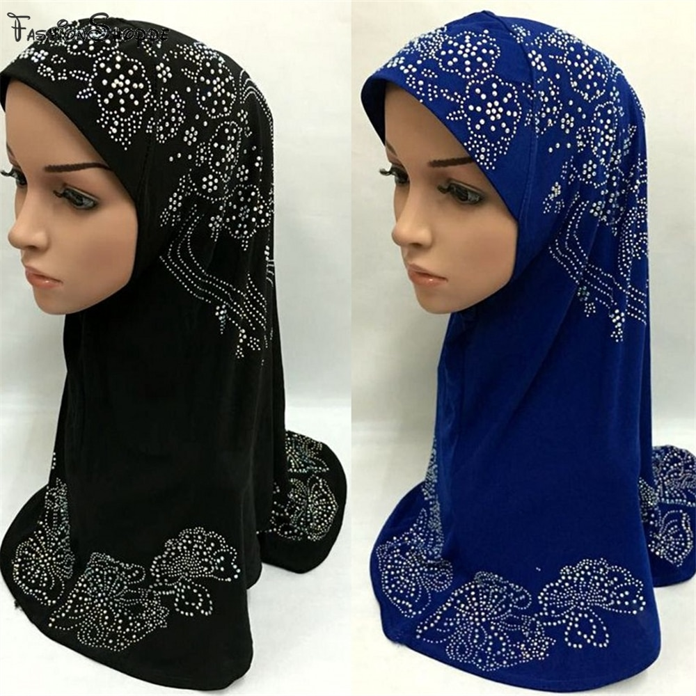 1 Piece al Amira Rhinestone Hijab Jilbab Abaya Scarf pull on ready made instant Muslim Islamic Hijab