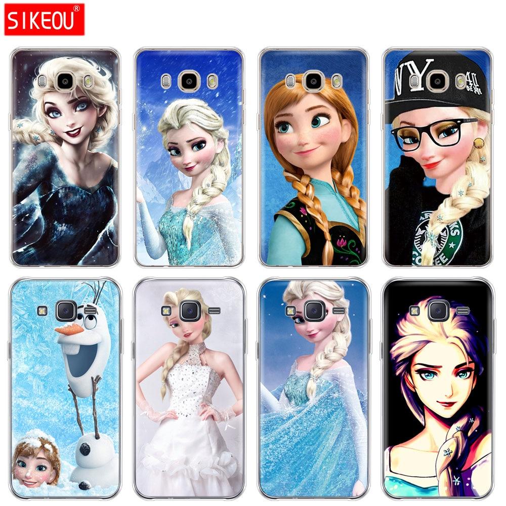 Cubierta de silicona del teléfono funda para Samsung Galaxy J1 J2 J3 J5 J7 2016 MINI 2015 Elsa punk tatuaje princesa