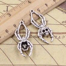 5pcs/lot Charms Skull Spider Halloween 40x16mm Antique Silver Color Pendants Making DIY Handmade Tibetan Finding Jewelry