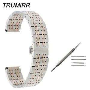 18mm 20mm 22mm Stainless Steel Watch Band Butterfly Buckle Strap Men Women Universal Wrist Belt Link Bracelet Black Gold Silver