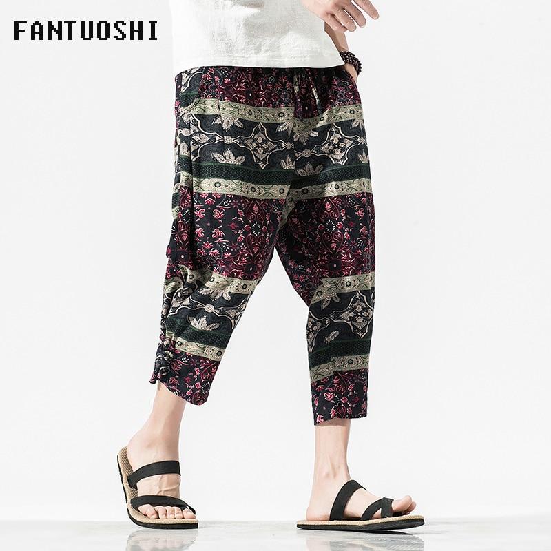 Pantalones de hombre Casual cintura elástica tobillo-longitud-pantalones de algodón masculino Hip Hop recto Looose pantalones Harem talla grande 5XL para hombre