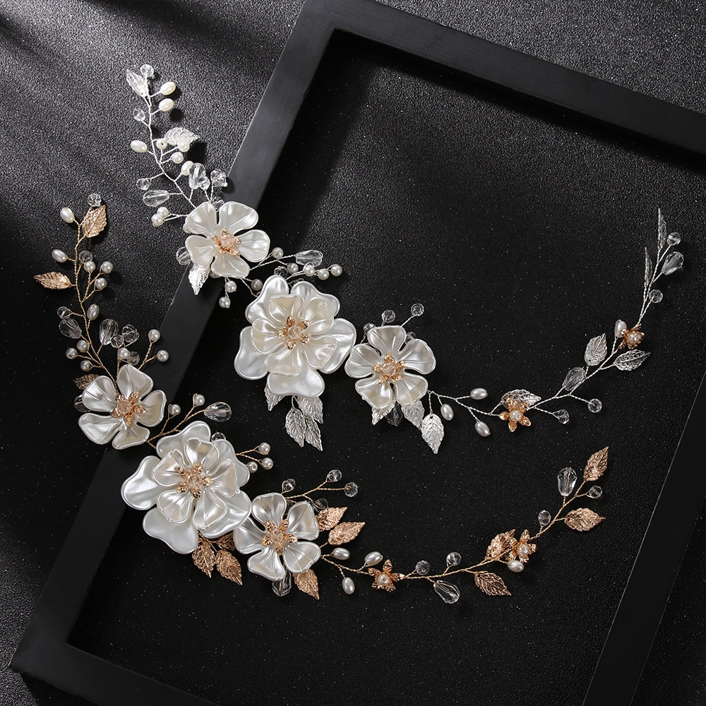 1Pcs Handmade Pearl Tiara White Pearl Leaf Flower Wedding Headband For Women Bridal Jewelry Accessories