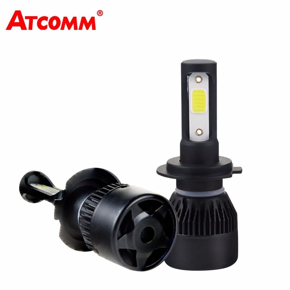 ATcomm H7 H4 LED 4300K Mini bombilla de faros delanteros de coche H1 9005/HB3 9006/HB4 12V 24V 8000Lm COB LED H11/H8/H9, lámpara de coche, Moto, camión