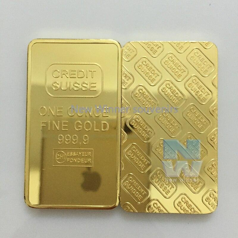 5 pçs/lote 1oz 24ct ouro chapeado em camadas barra lingote réplica moeda + suíça falso barra de ouro