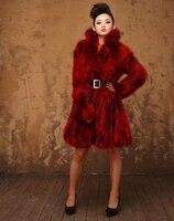 new arrivals genuine raccoon fur coat women plus size long design fur jacket outerwear free shipping wholesale retail j456