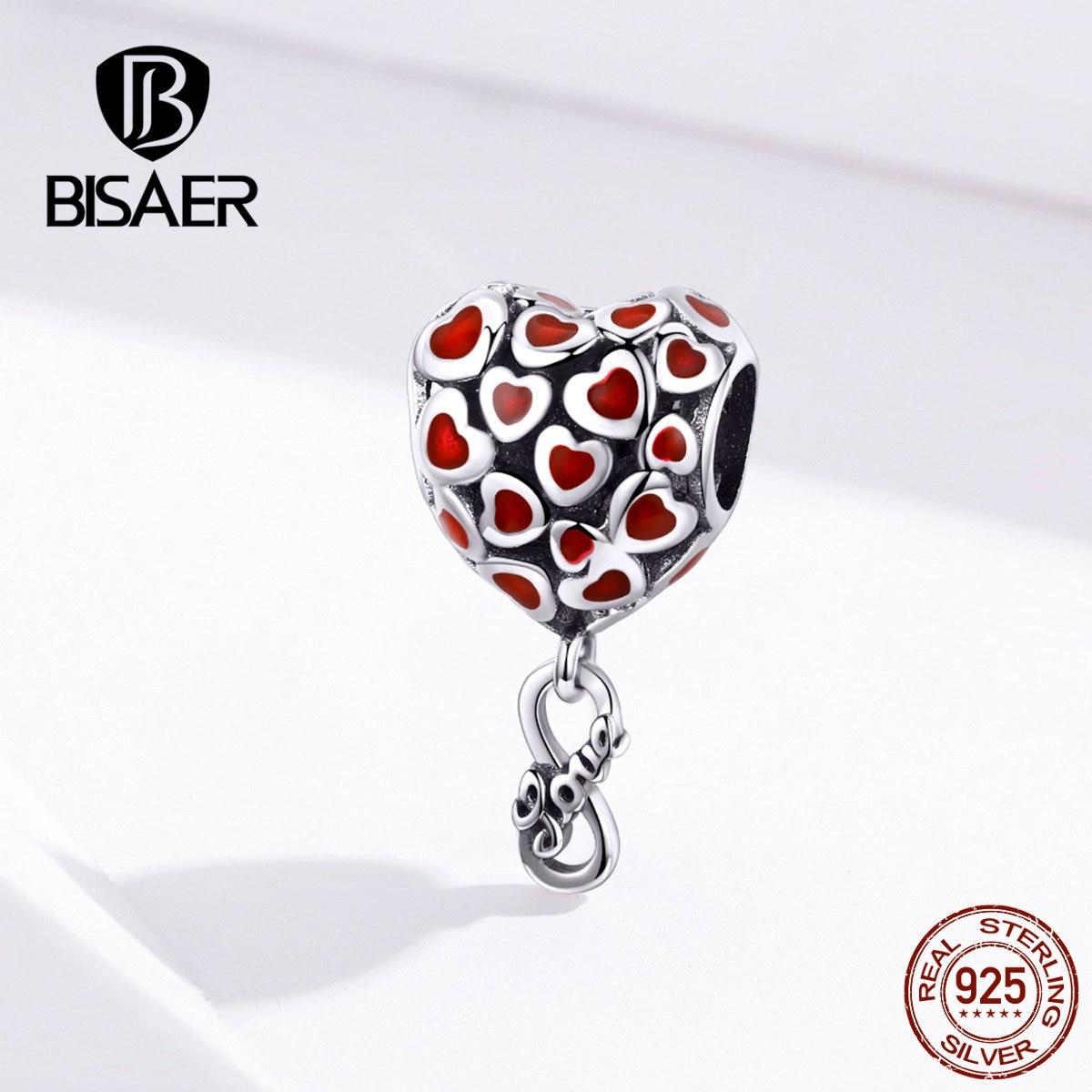 BISAER Infinity amour perles 925 argent Sterling amour sans fin coeur rouge amour infini breloques fit perles Bracelets bijoux à bricoler soi-même