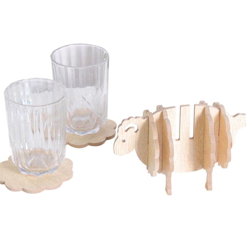 Innovate antideslizante lindo práctico Cordero oveja forma de madera taza Mat resistencia al calor conciso vaso artesanal Mat