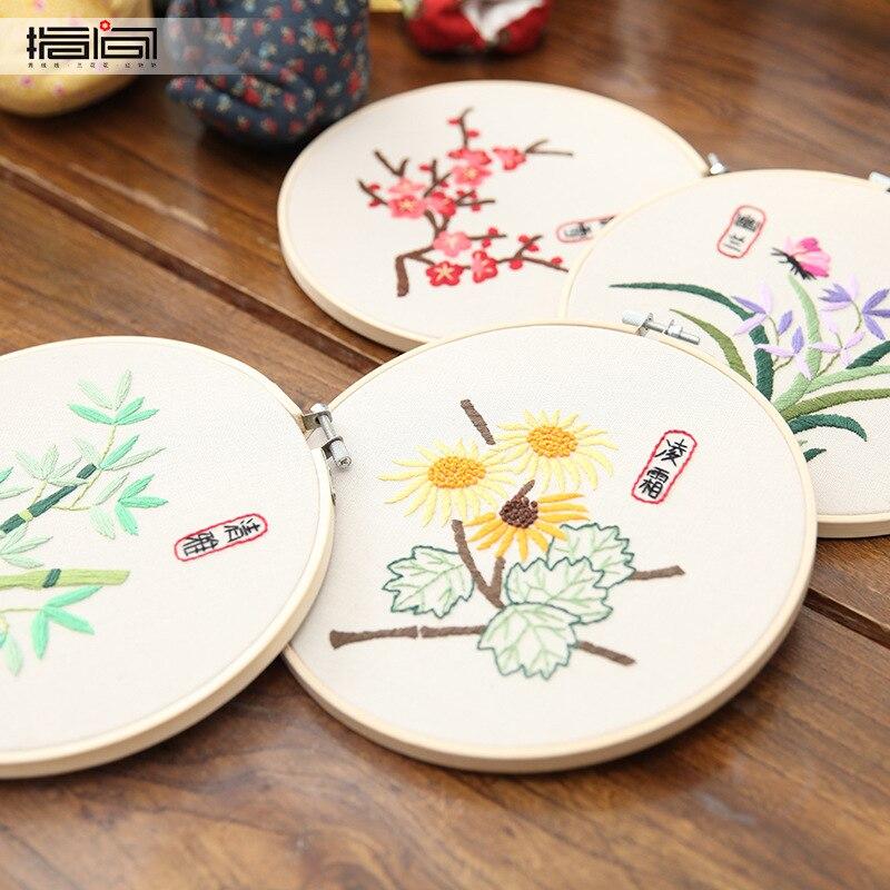 Kits de práctica de costura de estilo chino, cintas DIY, bordado para principiantes, punto de cruz, pintura de pared, arte, decoración del hogar, conjuntos de reunión