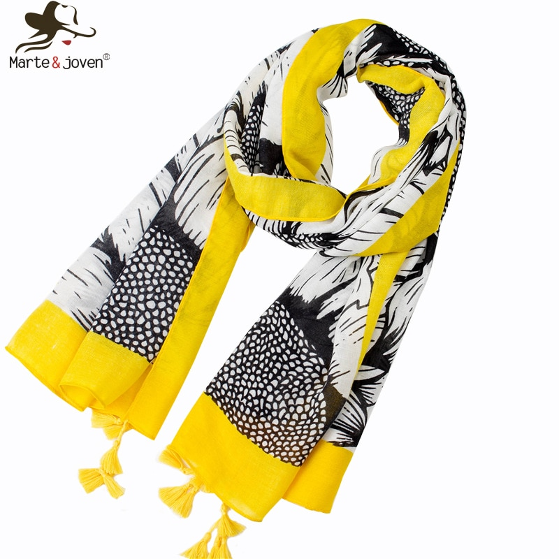 Marte&Joven Fashion Art Floral Sunflower Printing Spring Autumn Scarf for Women Elegant Yellow Tassel Long Polyester Shawl Hijab