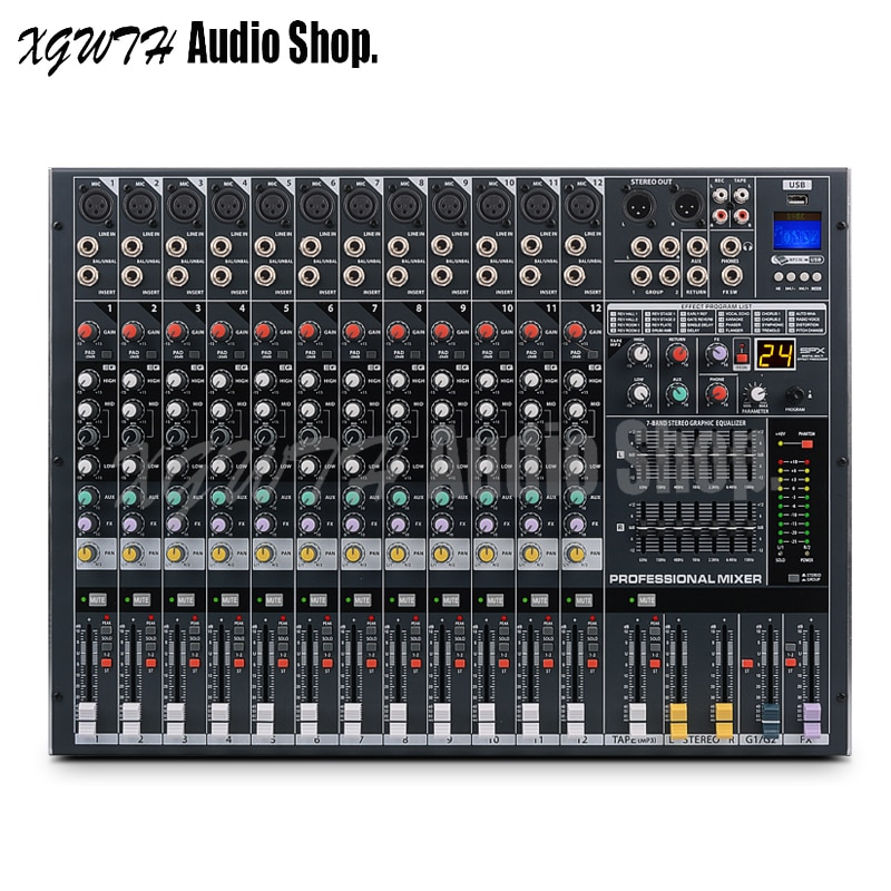 Controlador mezclador de 12 canales DJ con efecto Digital DSP, Bluetooth, USB + 48V, potencia Phantom, consola mezcladora de sonido