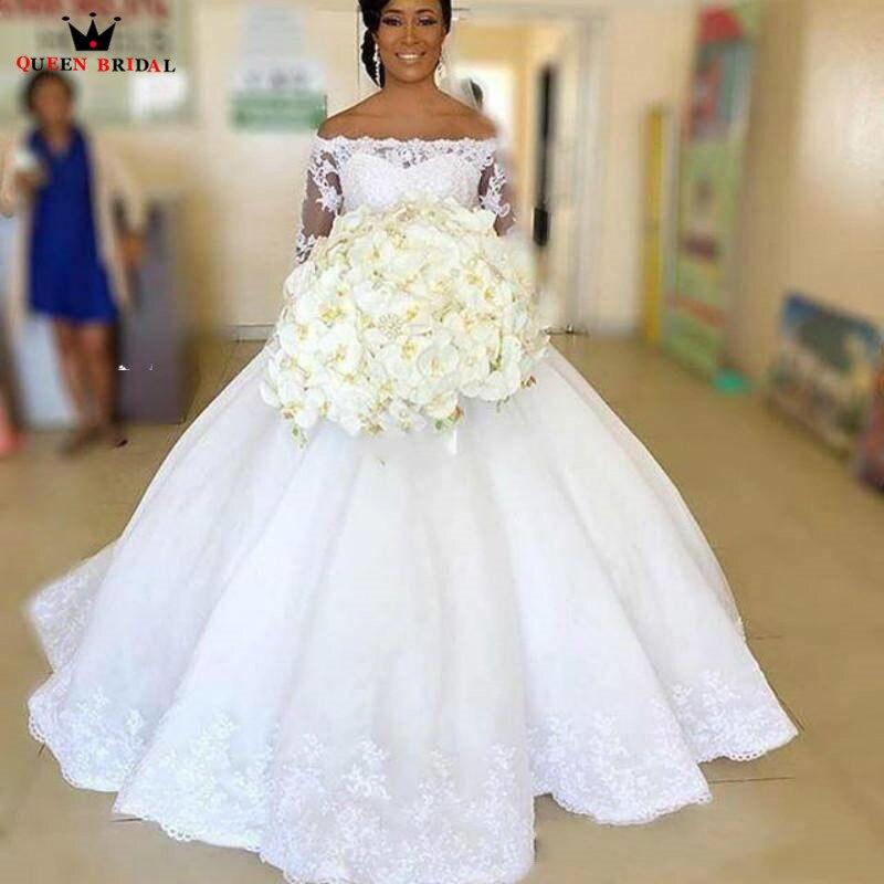 Robes De mariée grande taille sur mesure 2020 nouveau Empire à manches longues moelleux dentelle perles élégant romantique robe De Noiva DA111
