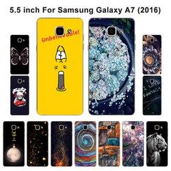 Para samsung galaxy a7 (2016) a710 a710f caso macio silicone tpu telefone moda pintado para samsung a7 2016 a710f capa
