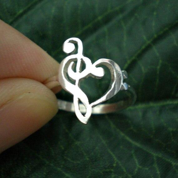 Музыкальная нотка, кольцо с сердечком, подарок учителю, кольцо с тройным зажимом, кольцо с басами, подарок на день Святого Валентина YLQ0465