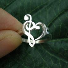Note de musique amour coeur anneau musique professeur appréciation cadeau anneau triple Clef anneau basse clef anneau présente Valentin jour YLQ0465