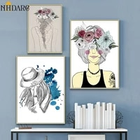 nordic kids room creative girl flower wall art canvas posters and prints canvas painting decorative wall pictures home decor