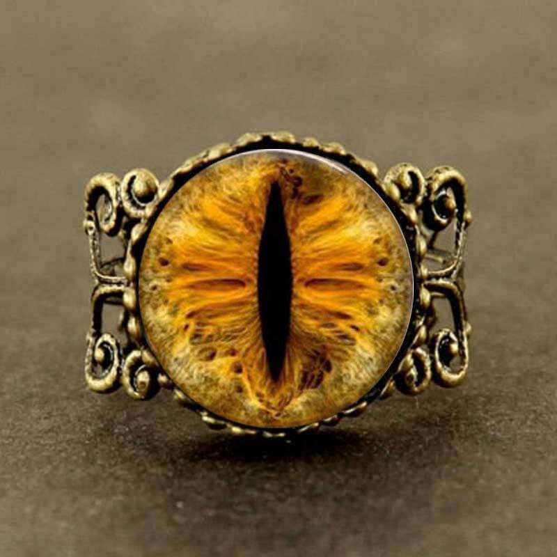 Steampunk oro nuevo Ojo de Dragón anillo Vintage ojo de gato joyería regalo mujeres hombres