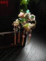 sanderwood coral horn hair stick vintage original handmade colored glaze jade tassel hair stick