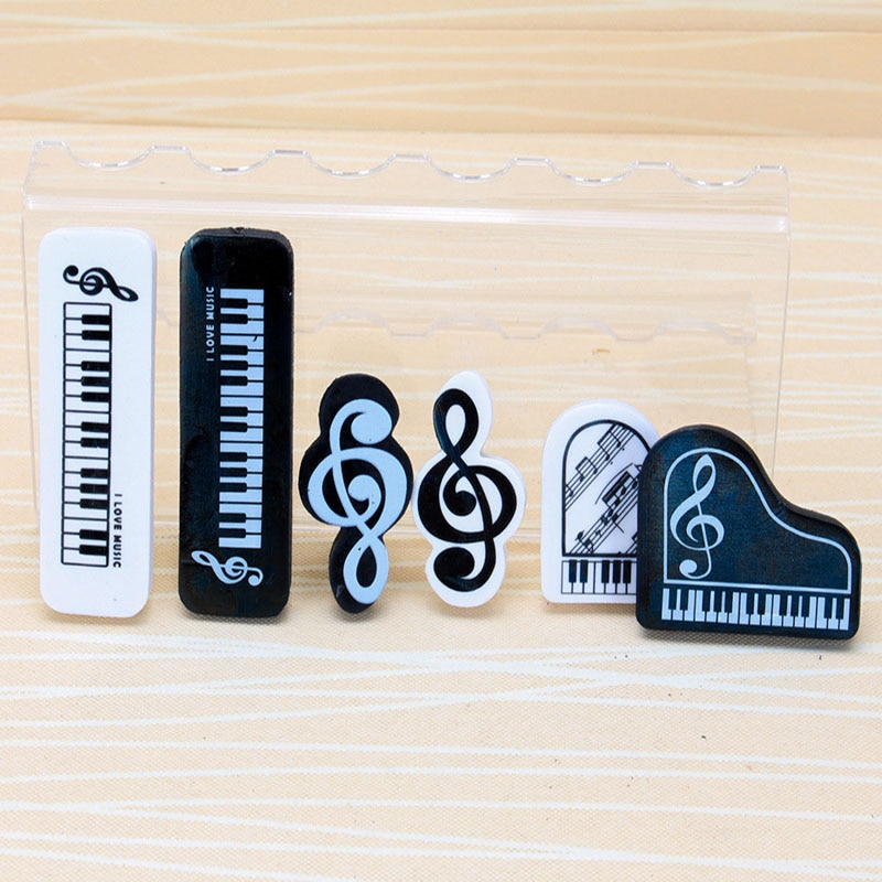 2 шт. черный белый музыкальный карандаш ластик для учебы, школы, канцелярские товары, мультяшный 3D резиновый ластик, креативный музыкальный ластик для фортепиано