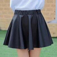 danjeaner pu autumn winter skirts women 2017 high waist black slim mini waterproof pleated skirts female casual leather skirt