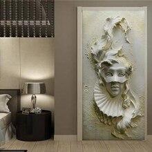 Kendinden Yapışkanlı Kapı Sticker Avrupa Tarzı Stereo Maskesi Şekil Duvar Kağıdı Oturma Odası Yatak Odası Yaratıcı kendin yap çıkartmalar PVC Su Geçirmez