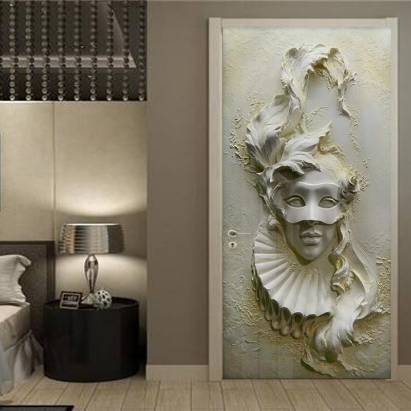 Puerta adhesivo Etiqueta de estilo europeo estéreo máscara de figura papel habitación dormitorio DIY creativo de calcomanías PVC impermeables