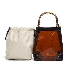 2019 new transparent PVC shoulder female bag candy color jelly solid color handbag female bag main bag female bag bamboo