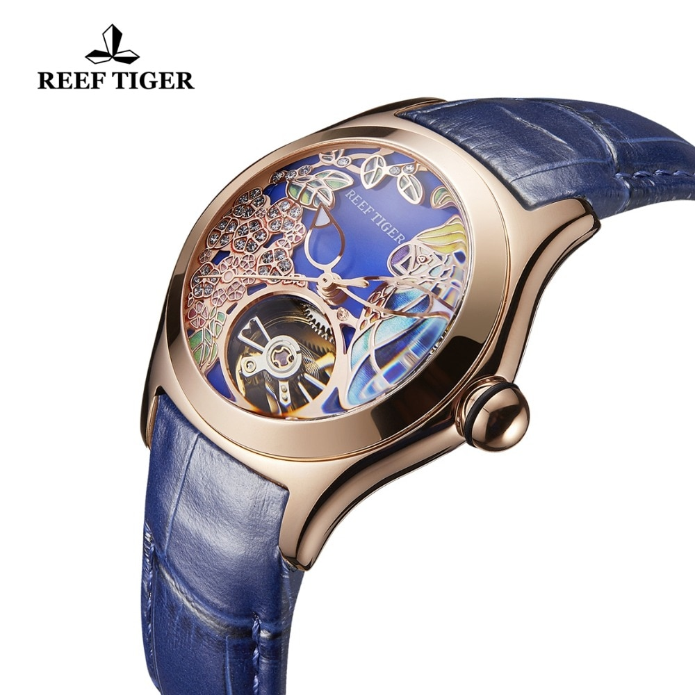 Reef Tiger Top Brand Luxury Women Watches Blue Leather Strap Analog Mechanical Watches Steel Sport Watches RGA7105 enlarge