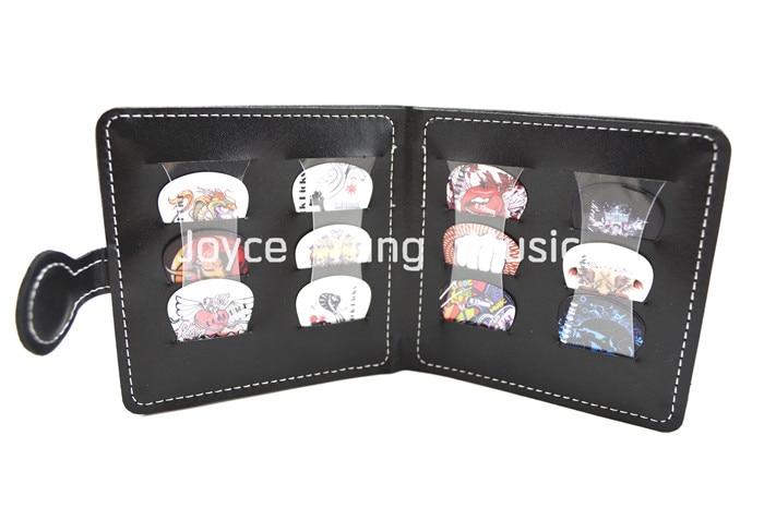 Portable Leather Guitar Picks Wallet&12pcs Rock Style Celluloid Guitar Picks Plectrums Free Shipping