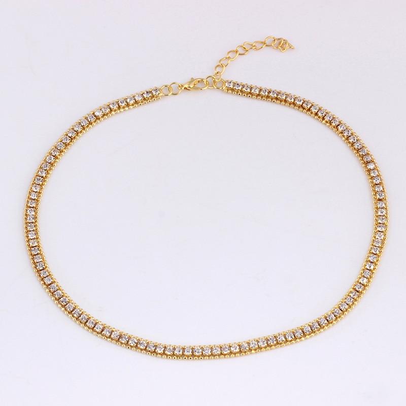 De moda Bling enlace collares de cadena de los hombres de las mujeres joyería de Hip Hop Unisex Steampunk diamantes de imitación helado collar Statement de oro