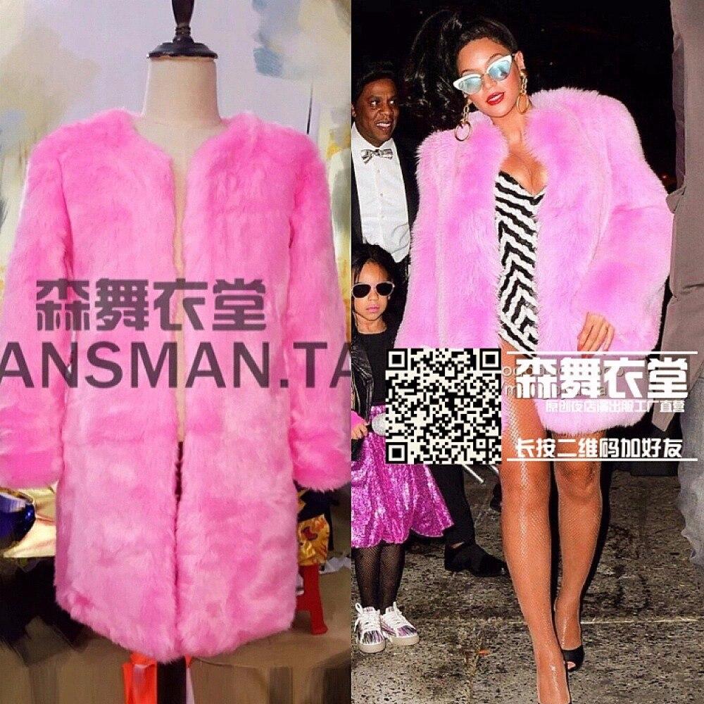 M-XXL club nocturno cantante masculino DJ Europa y los Estados Unidos show modelos Rosa abrigo largo de piel sintética espectáculo a pie trajes de cantante