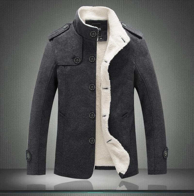Male Wool Blend Men's Coat Winter Men Coat Fashion Brand Clothing Fleece Lined Thick Warm Woolen Overcoat
