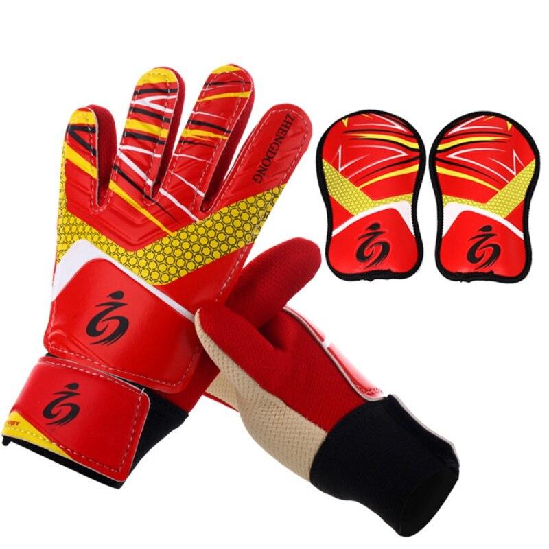 child goalkeeper gloves soccer goalkeeper gloves breathable wear Keeper goalie football gloves &Shin Pad перчатки для подростка