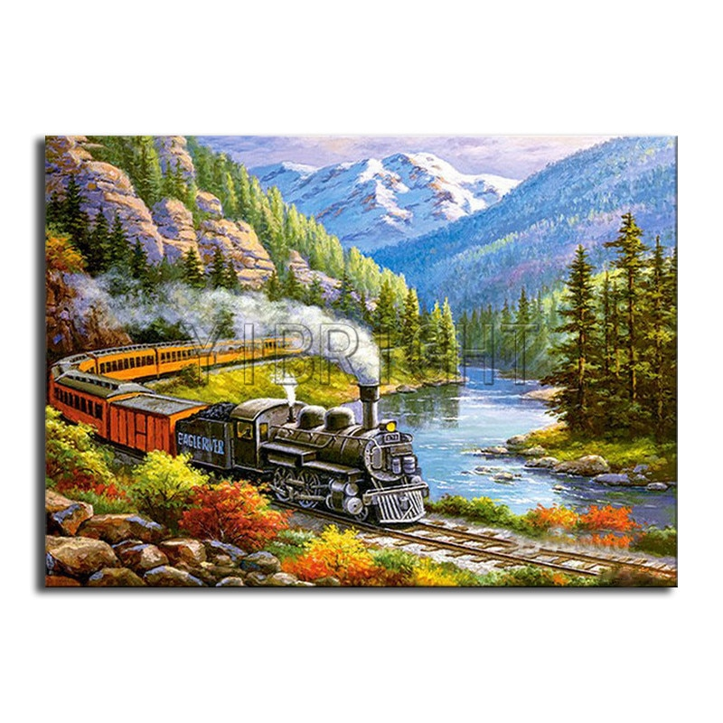 Full Square Diamond embroidery Cross stitch forest DIY 3D Diamond painting train Full Round Diamond mosaic mountain scenery