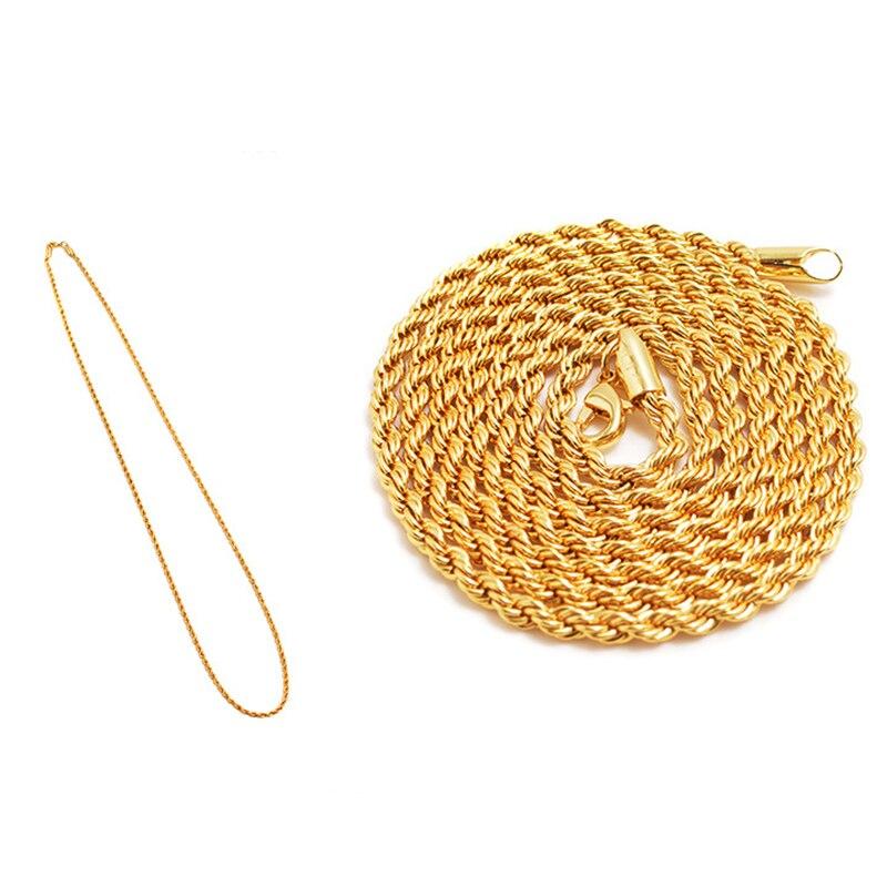Collar de cadena gruesa Twist Hip Hop para hombres, collar largo de joyas con cadena de espiga en relieve de encaje para hombres dorado grueso Hippie