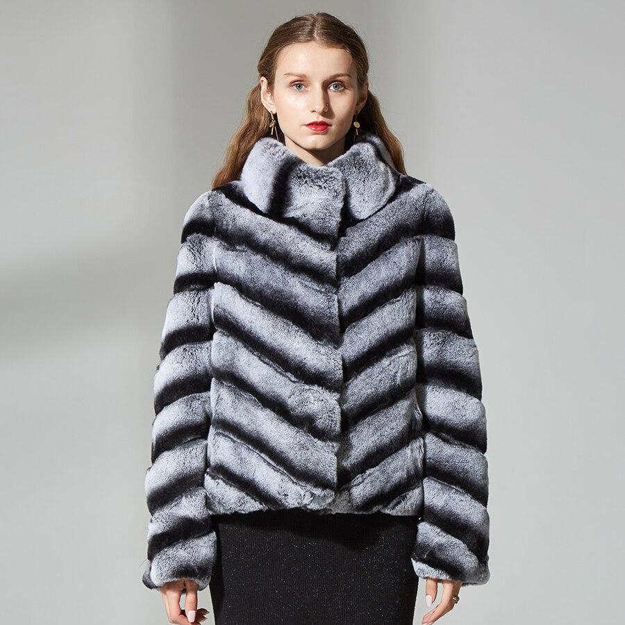 Casaco de pele de coelho rex natural womenreal fur jacket sobretudo gola listrada inverno chinchila verdadeiro coelho casaco de alta qualidade