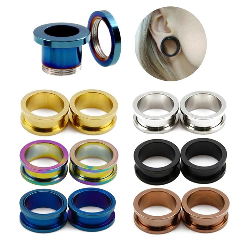 Par de tapones para oídos de rosca de acero, expansores de oreja de Color mixto, calibradores de piercings huecos, joyería de moda 1,6mm-20mm