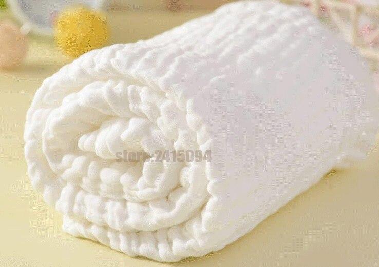 Couverture de bain en gaze blanche 100% coton   Couverture super douce pour bébé nouveau-né, 110x115cm