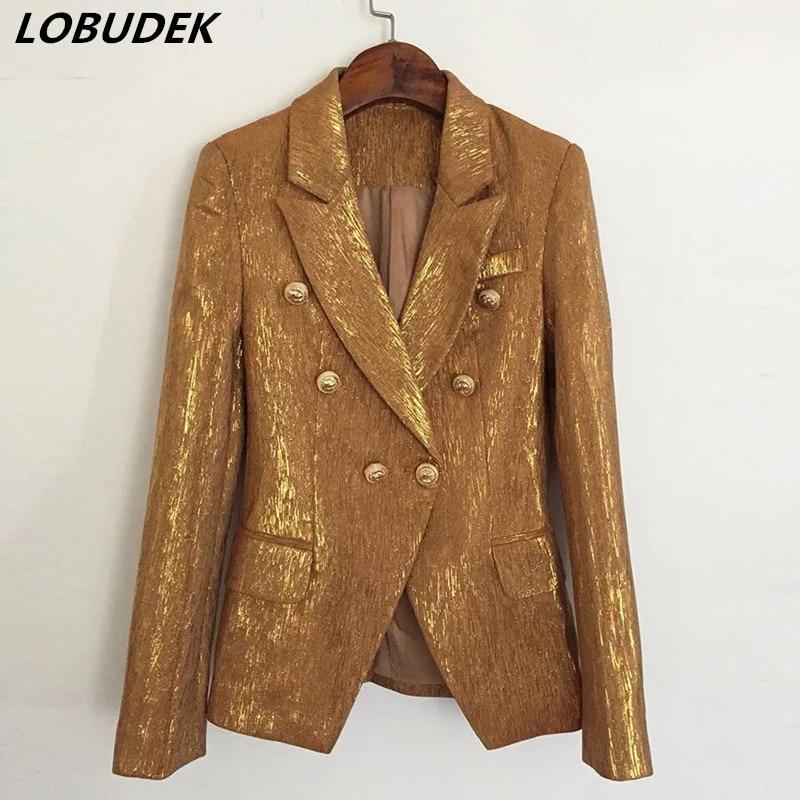 Blazers femeninos europeos de oro brillante, abrigo Formal para fiesta, Bar, discoteca, cantante, ropa de actuación, traje de bailarín DS show