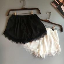 2pcs Sexy Sleep Bottoms for Women Girls Spring Summer Woman Pants Elastic Waist Lace Shorts Nightwear Underwear White Black