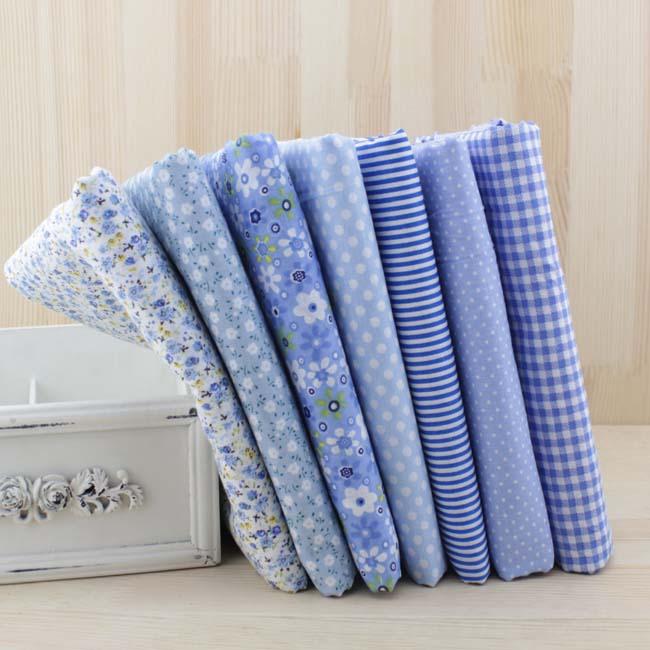 7 шт 50 см x48см Бесплатная доставка Простая тонкая Лоскутная хлопковая ткань с цветами серия Синий Шарм четвертей набор для шитья