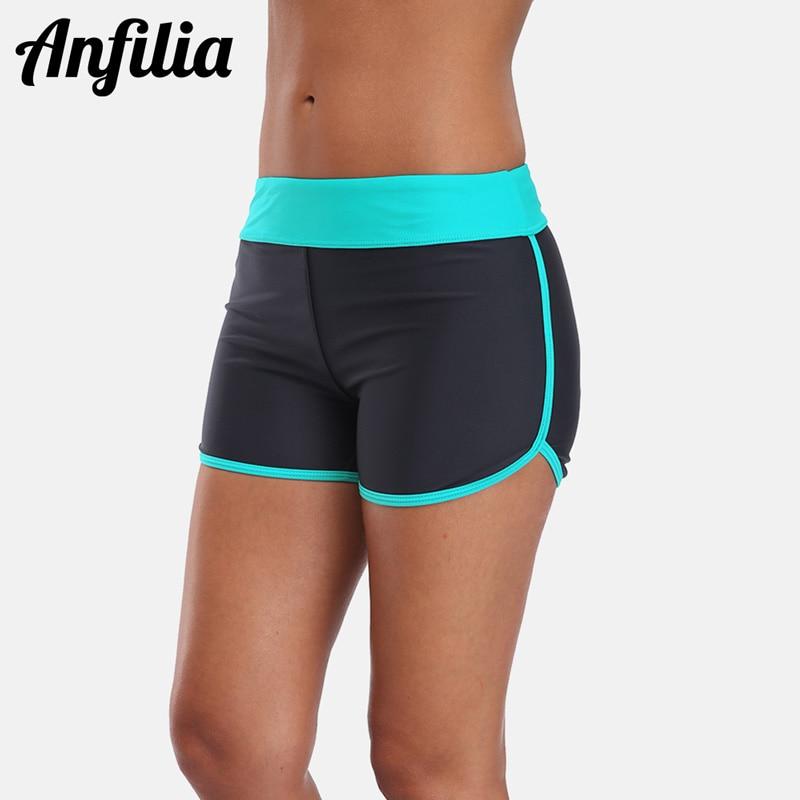 aliexpress.com - Anfilia Women's Swim Trunks Bikini Bottom Ban Colorblock Swimwear Briefs Swimwear Split Swimming Trunks