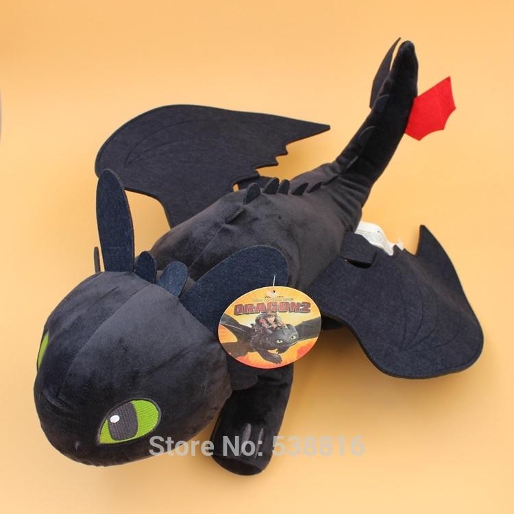 """10 """"20"""" Cómo entrenar a tu dragón Negro Dragón desdentado furia nocturna peluche suave Animal relleno muñecas"""