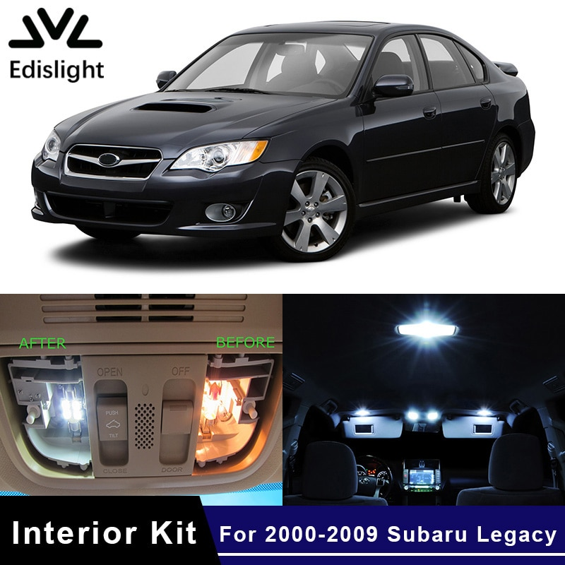Edislight 12 Uds. Bombilla LED blanca azul hielo para coche Kit de paquete de interiores para 2000-2009 Subaru Legacy Map Dome Trunk Door Light